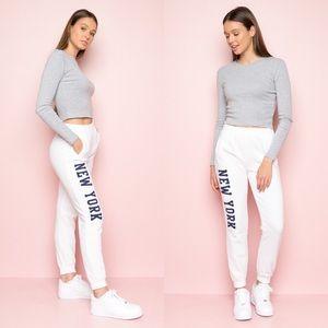 NWOT New York Graphic Fleece White Sweatpants